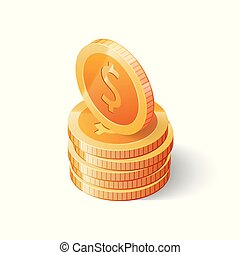 Stack of gold dollar coins isolated on white background. Isometric vector illustration