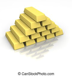 Stack of gold ingots. 3d rendered image isolated on white...