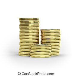 Stack of goldcoins isolated