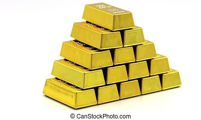Stack of golden bars as a Financial concepts, full hd video