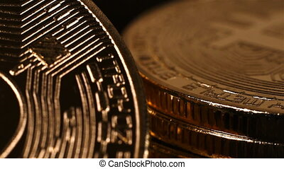 Stack Of Golden Bitcoin Cryptocurrency. Virtual Coins....