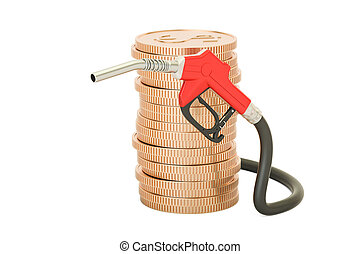 stack of golden coins with fuel pump nozzle, 3D rendering