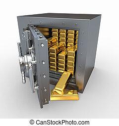 Stack of golden ingots in bank vault. 3d