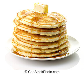 pancakes with butter - stack of Golden pancakes with butter