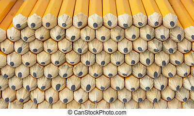 Stack of golf pencils close up