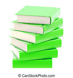 Stack of green glossy books isolated