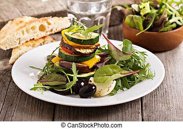 Stack of grilled vegetables