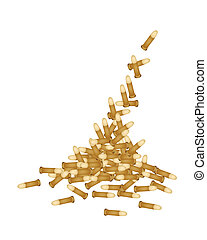 Stack of Gun Bullets on White Background