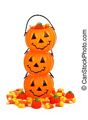 Stack of Halloween Jack o Lantern candy holders over white