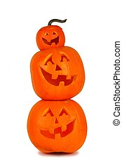 Stack of Halloween Jack o Lanterns isolated on white