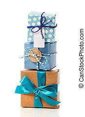 Stack of handcraft gift boxes - Stack of handcraft blue...