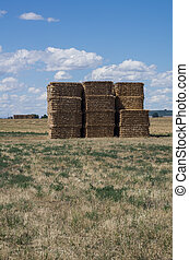 Stack of hay bales under blue sky with clouds