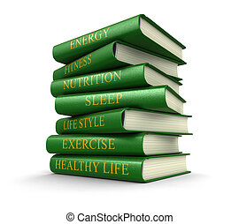 Stack of Healthy lifestyle book
