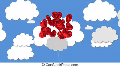 Animation of multiple digital red heart shaped balloons love icons floating on blue sky with clouds in the background. Global online social media concept digitally generated image.
