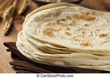Stack of Homemade Flour Tortillas - Stack of Homemade Whole...