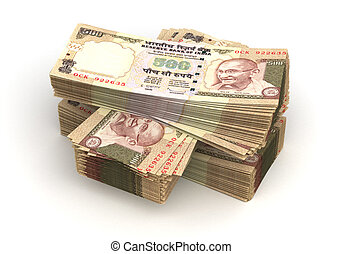 Stack of Indian Rupee (isolated with clipping path)
