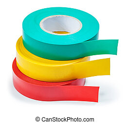 stack of insulation tape rolls isolated on white