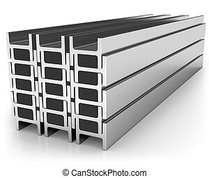Stack of iron joists isolated on white background