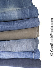 Stack of jeans isolated on the white