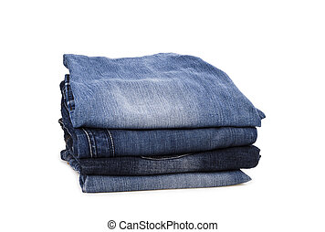 stack of jeans isolated on white background