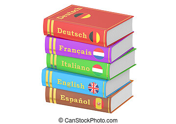 Stack of Languages Books, 3D rendering