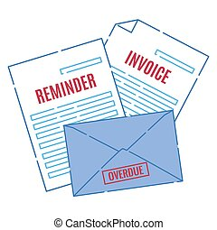 Stack of legal payment invoice and overdue letters