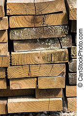 Stack of lumber for construction