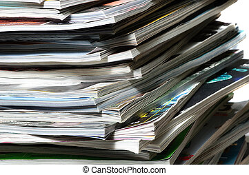 Stack of magazines .