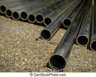 Stack of Many Pipes at the Construction Site
