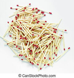stack of matches isolated on a white background