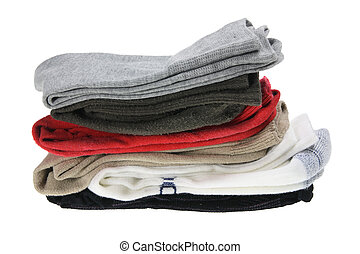 Stack of Men's Socks on White Background
