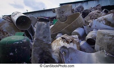 Stack of Metal Garbage lying in dump - Close up shot of a...