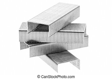 Stack of metal staples. Isolated on a white. - Stack of...