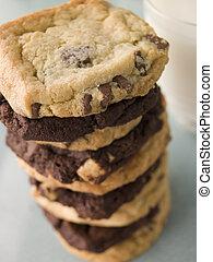 Stack Of Milk And Dark Chocolate Chip Cookies