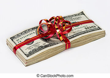 STACK OF MONEY - Gift-wrapped  money