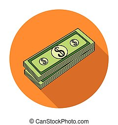 Stack of money icon in flat style isolated on white background. Money and finance symbol stock vector illustration.