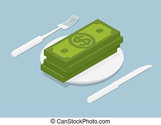 stack of money isometrics. 3D Cash on plate. Cutlery fork...