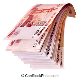 Stack of with money (Russian rouble). Isolated.
