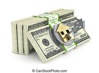 Stack of money with lock in form of house. 3d illustration