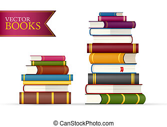 Two stacks of multi colored books vector illustration