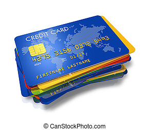 stack of multi colored credit cards with worldmap print...