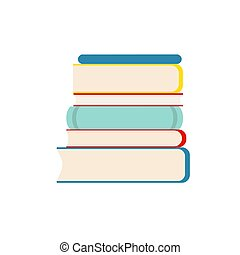 Stack of multicolor books on white background. Flat Vector Illustration.