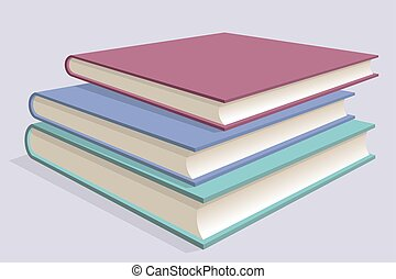 Stack of multicolored books. Three textbooks stacked on each other. Vector