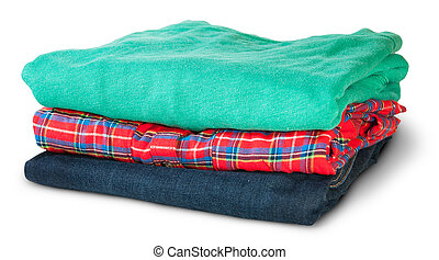 Stack Of Multicolored Casual Clothes Rotated