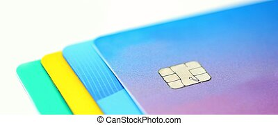 Stack of multicolored credit cards