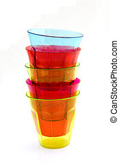 Stack of multicolored drinking glasses