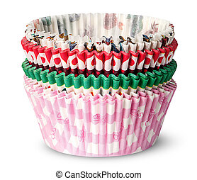Stack of multicolored paper cups for baking muffins
