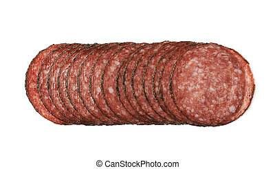 Stack of multiple salami slices isolated