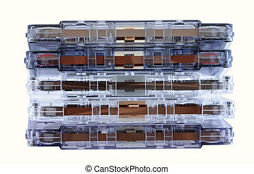 Stack of music tapes isolated over white background