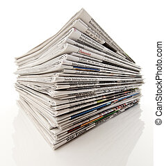 Stack of newspapers - Old newspapers and magazines in a pile